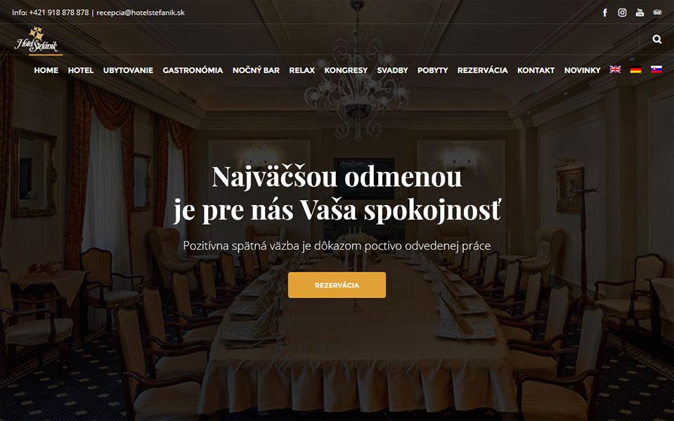 Tvorba web stránky pre Hotel Štefánik v Myjave